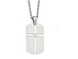 Chisel Stainless Steel Brushed And Polished W/ Cz Cross Dog Tag Necklace style: SRN197422