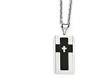 Chisel Stainless Steel Brushed and Polished Black Ip-plated W/ Cz Necklace style: SRN198124