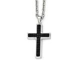 Chisel Stainless Steel Polished Leather Inlay Cross Necklace style: SRN198324