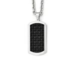 Chisel Stainless Steel Polished Leather Inlay Dog Tag Necklace style: SRN198424