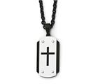Chisel Stainless Steel Brushed Polished Black Ip-plated Dog Tag Necklace style: SRN198724