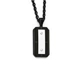 Chisel Stainless Steel Brushed Polished Black Ip-plated Dog Tag Necklace style: SRN198924