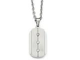 Chisel Stainless Steel Brushed And Polished Dog Tag Necklace style: SRN199024