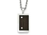 Chisel Stainless Steel Reversible Brushed and Polished With Brown Leather Necklace style: SRN199324