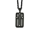 Chisel Stainless Steel Polished Black Ip-plated W/ Wire Inlay Cross Necklace style: SRN1997245