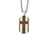 Chisel Stainless Steel Brushed and Polished Brown Ip-plated Cross Necklace style: SRN199924
