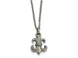 "Chisel Stainless Steel Polished Fleur De Lis With 2"" Ext. Necklace style: SRN20001875"