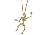 Chisel Stainless Steel Yellow Ip-plated Crystal Skeleton W/ 2 Inch Ext Necklace style: SRN200118