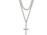 Chisel Stainless Steel Polished Cross W/crystal Two Bead Chain Necklace style: SRN200416
