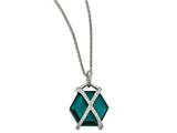 Chisel Stainless Steel Polished W/ Teal Glass and Preciosa Crystal Necklace style: SRN200918