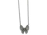 Chisel Stainless Steel Polished W/ Preciosa Crystal Butterfly W/2 Inch Ext Necklace style: SRN201216