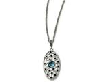 Chisel Stainless Steel Polished Blue Glass And Preciosa Crystal Necklace style: SRN201318