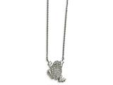 Chisel Stainless Steel Polished W/ Preciosa Crystal Frog W/ 2 Inch Ext Necklace style: SRN201416