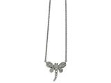 Chisel Stainless Steel Polished W/ Preciosa Crystal Dragonfly W/2 Inch Ext Necklace style: SRN201516