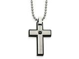 Chisel Stainless Steel Brushed And Polished Black CZ Black Ip Cross Necklace style: SRN202620