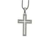 Chisel Stainless Steel Polished CZ Cross Necklace style: SRN203022