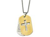 Chisel Stainless Steel Brushed/polished Yellow Ip Prayer Cross Necklace style: SRN203422
