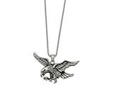 Chisel Stainless Steel Polished And Antiqued Eagle Necklace style: SRN203824