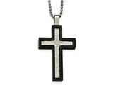 Chisel Stainless Steel Brushed And Polished Hammered Black Ip Cross Necklace style: SRN203924