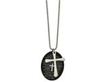 "Chisel Stainless Steel Polished Blk Ip Lord""s Prayer Oval Cross Necklace style: SRN204124"