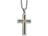 Chisel Stainless Steel Polished Black Ip Cable Dad Cross Necklace style: SRN204324