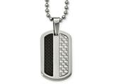 Chisel Stainless Steel Polished Black/gray Carbon Fiber Dogtag Necklace style: SRN204424