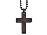Chisel Stainless Steel Polished Black Ip Black/red Carbon Fiber Cross Necklace style: SRN204722
