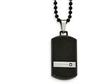 Chisel Stainless Steel Brushed And Polished Blk Ip CZ Dogtag Necklace style: SRN204824