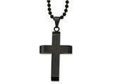 Chisel Stainless Steel Brushed and Polished Black Ip-plated Cross Necklace style: SRN204924