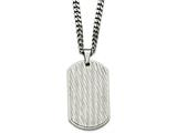 Chisel Stainless Steel Brushed And Polished Textured Dogtag Necklace style: SRN205324