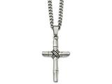 Chisel Stainless Steel Polished/antiqued Cross Necklace style: SRN205524