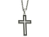 Chisel Stainless Steel Polished Black CZ Cross Necklace style: SRN205620