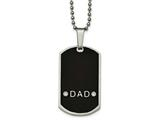 Chisel Stainless Steel Brushed/polished Black Resin CZ Dad Dogtag Necklace style: SRN205824