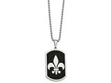 Chisel Stainless Steel Black-plated W/ Fleur De Lis Dog Tag Necklace style: SRN206124