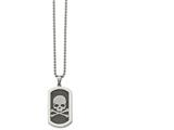Chisel Stainless Steel Polished And Brushed Laser Cut Skull and Bones 24in Necklace style: SRN206224