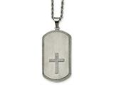 Chisel Stainless Steel Brushed Laser Cut Cross Dog Tag Necklace style: SRN206424