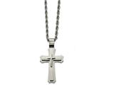Chisel Stainless Steel Brushed And Polished Triple Layer Cross Necklace style: SRN206524