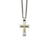 Chisel Stainless Steel Brushed/polished Yellow Ip Crucifix Necklace style: SRN206624