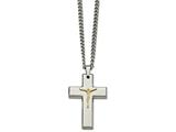 Chisel Stainless Steel Polished Yellow Ip Crucifix Necklace style: SRN206724
