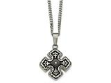 Chisel Stainless Steel Polished Black Ip Cz Celtic Cross Necklace style: SRN206820