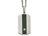 Chisel Stainless Steel Polished Blk/green Carbon Fiber Cz Dogtag Necklace style: SRN207224