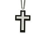 Chisel Stainless Steel Brushed And Polished Black Ip Cz Cross Necklace style: SRN207324