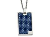 Chisel Stainless Steel Polished With Blue Carbon Fiber Dog Tag Necklace style: SRN207822