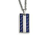 Chisel Stainless Steel Polished W/ Blue Carbon Fiber Small Dogtag Necklace style: SRN207922