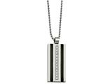 Chisel Stainless Steel Polished And Laser Cut Black Ip CZ Necklace style: SRN208620