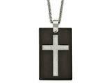 Chisel Stainless Steel Polished Black Ceramic CZ Cross Necklace style: SRN208924