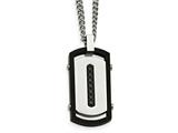 Chisel Stainless Steel Brushed/polished Black Ip Rim Black CZ Tag Necklace style: SRN209422