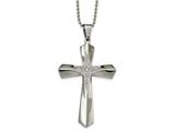 Chisel Stainless Steel Polished CZ Cross Necklace style: SRN2096245