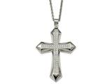 Chisel Stainless Steel Polished Cz Cross Necklace style: SRN209724