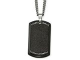 Chisel Stainless Steel Brushed Lasercut  Black Ip Plated CZ Dogtag Necklace style: SRN210224